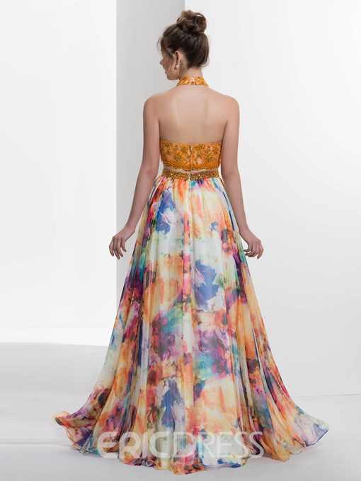 Ericdress A-Line Halter Beading Lace Printed Two Pieces Prom Dress With Sweep Train