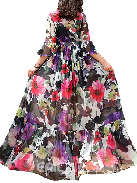 Ericdress Flower Print Expansion Patchwork V-Neck Maxi Dress