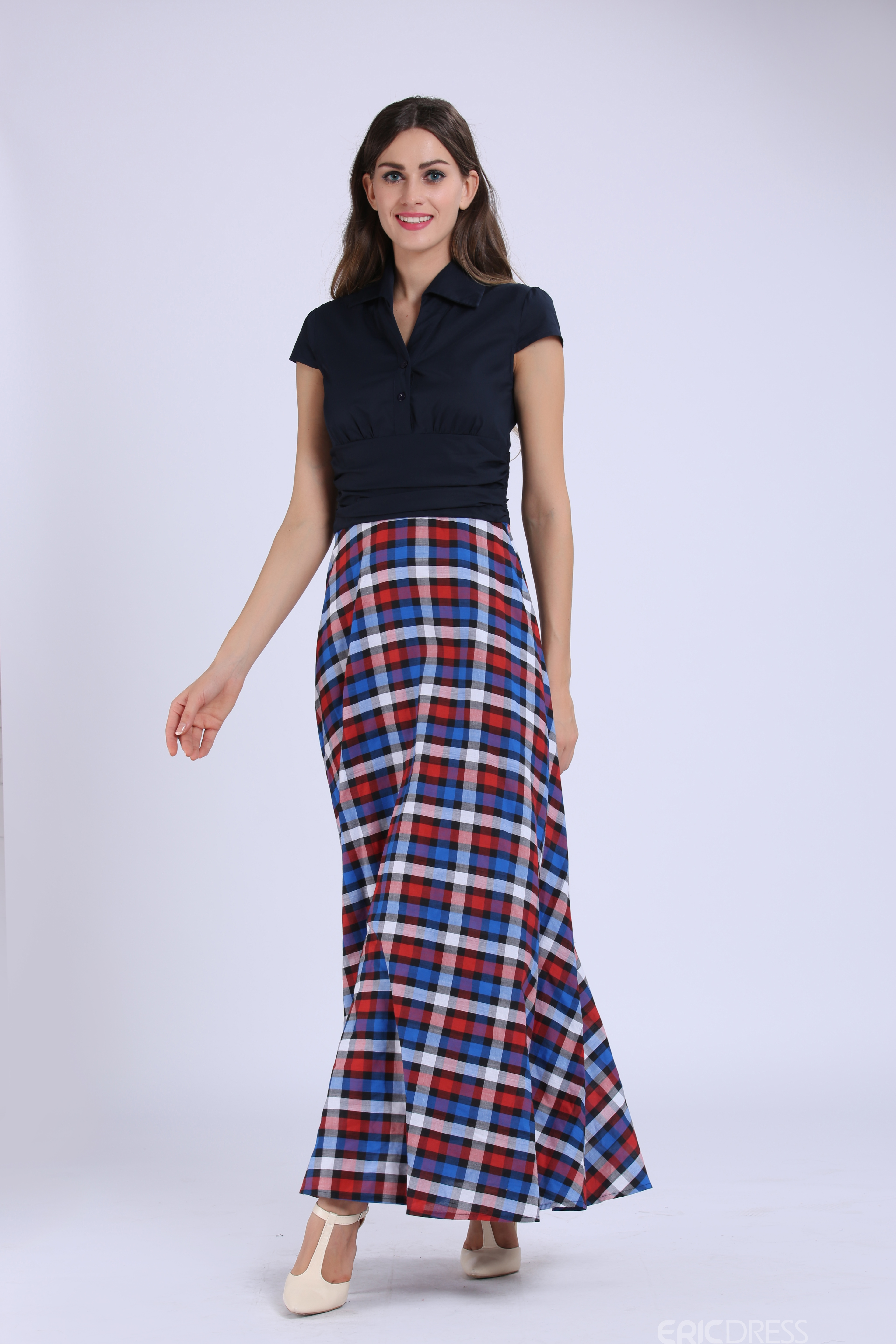 Ericdress Plaid Short Sleeve Expansion Maxi Dress