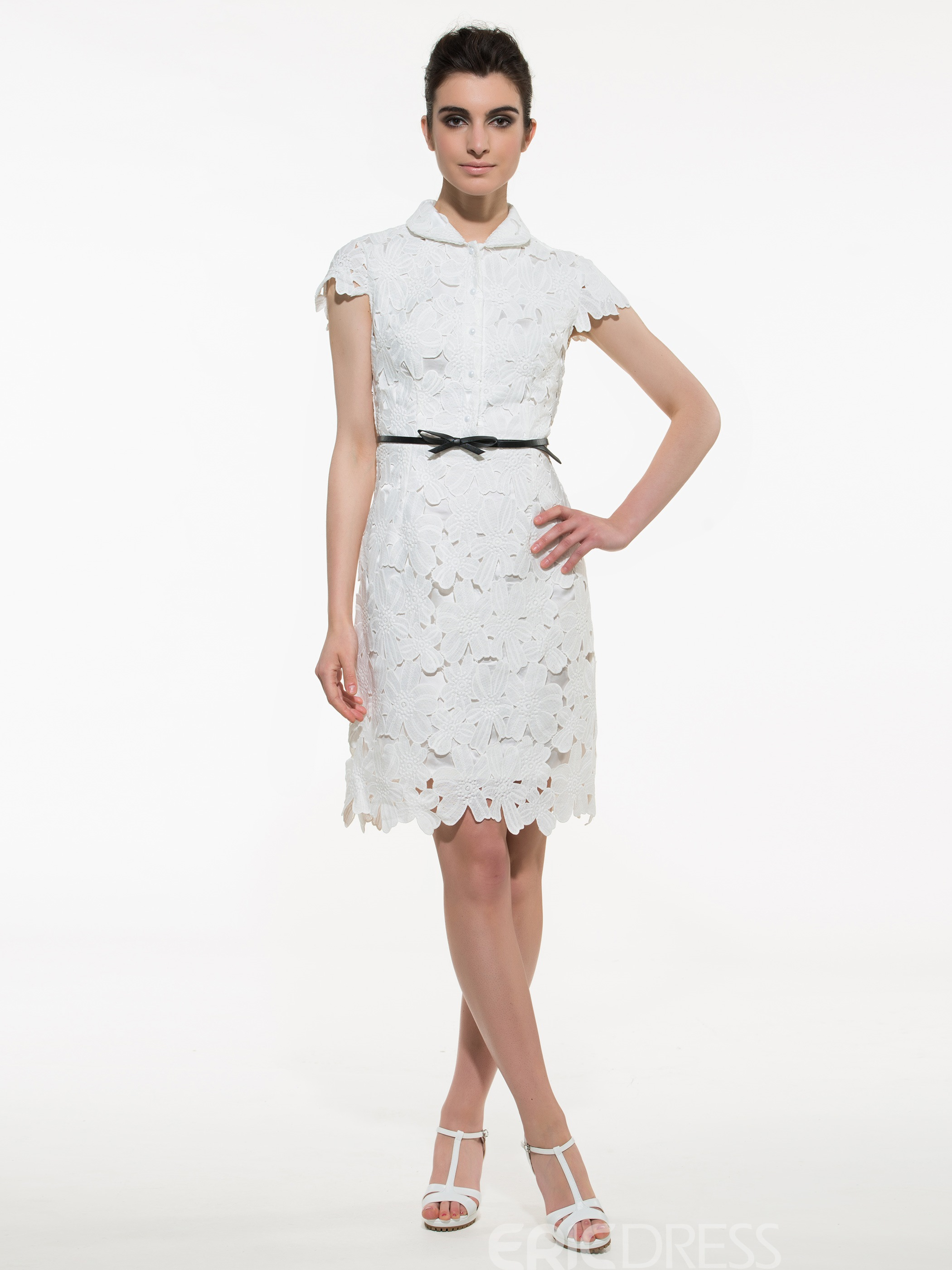 Ericdress Lapel Belt Single-Breasted Lace Dress