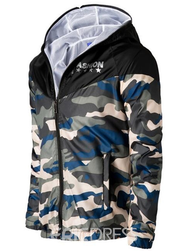 Ericdress Color Block Camouflage Sun Protection Casual Men's Jacket