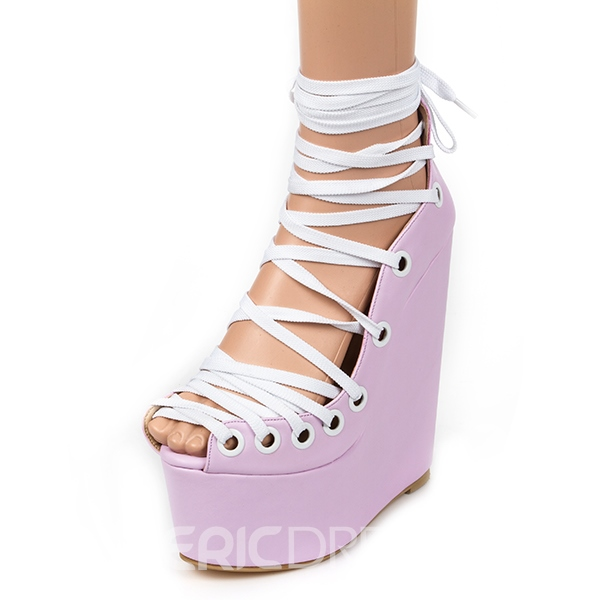 Ericdress Special Pink Lace Up Wedge Sandals