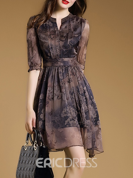 Ericdress A-Line Vintage Print Casual Dress