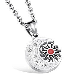 Ericdress Vintage Sun Moon Titanium Steel Mens Necklace