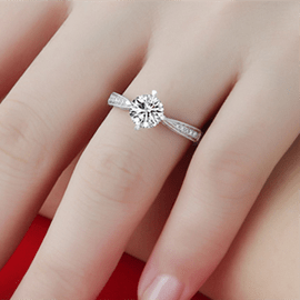 925 Sterling Silver Plated of 18 K Gold Simulation Diamond Ring