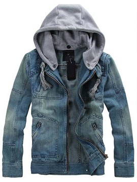 Ericdress Hooded Patchwork Casual Men's Denim Jacket