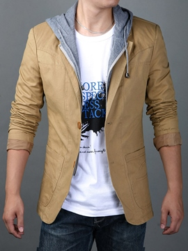 Ericdress Patchwork Double-Layer Zip Casual Men's Jacket