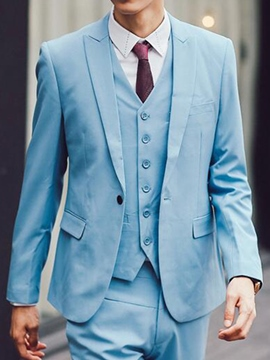 Ericdress Solid Color Formal Slim Three-Piece of Men's Suit