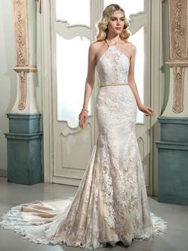 Ericdress Beautiful Halter Mermaid Lace Wedding Dress