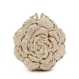 Ericdress Golden Diamante Rose Evening Clutch