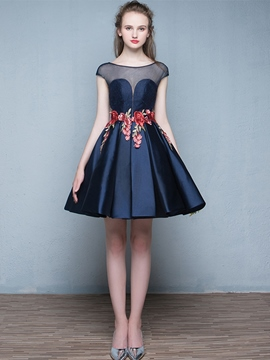 Ericdress Sheer Neck Cap Sleeves Appliques Short Homecoming Dress