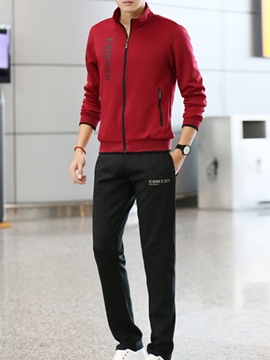 Ericdress Zip Straight Casual Sports Men's Suit
