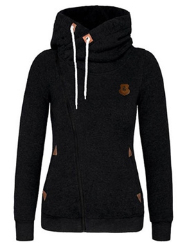 Ericdress Plain Slim Asymmetric Zipper Cool Hoodie