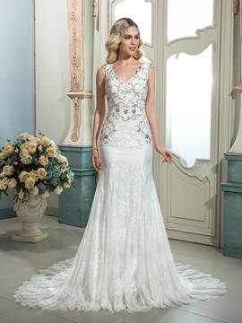 Ericdress Gorgeous Beaded V Neck Mermaid Lace Wedding Dress
