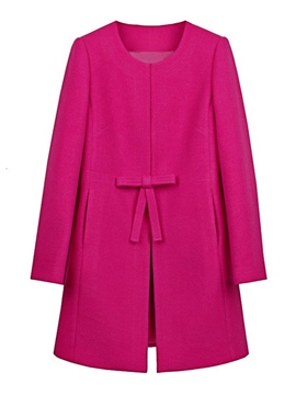 Ericdress Solid Color Tie Front Mid-Length Coat