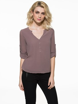 Ericdress Plain V-Neck Chiffon Button Blouse
