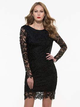 Ericdress Black Open Back Lace Dress