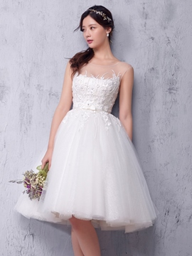 Ericdress Charming Illusion Neckline A Line Reception Wedding Dress