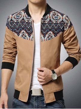 Ericdress Vogue Print Zip Slim Men's Jacket