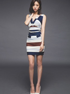 Ericdress Stripe V-Neck Bodycon Dress