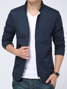 Ericdress Plain Stand Collar Zip Slim Men's Jacket