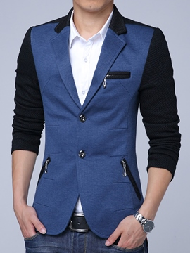 Ericdress Color Block Multi-Zip Vogue Slim Men's Blazer