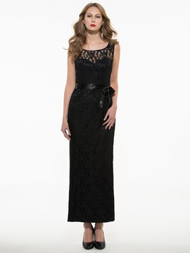 Ericdress Elegant Round Collar Lace Patchwork Maxi Dress