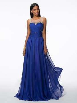 Ericdress Straps Beading Pleats Evening Dress