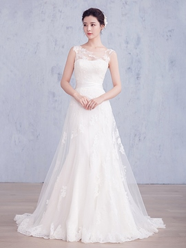 Ericdress Beautiful Illusion Neckline Sheath Wedding Dress