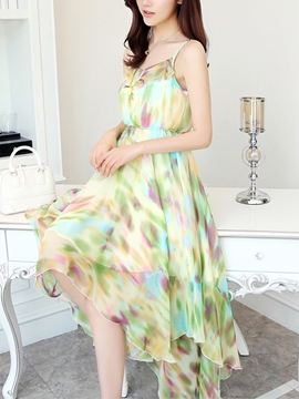 Ericdress Spaghetti Strap Asymmetric Print Maxi Dress