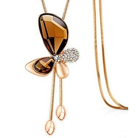Ericdress Crystal Butterfly Tassels Necklace