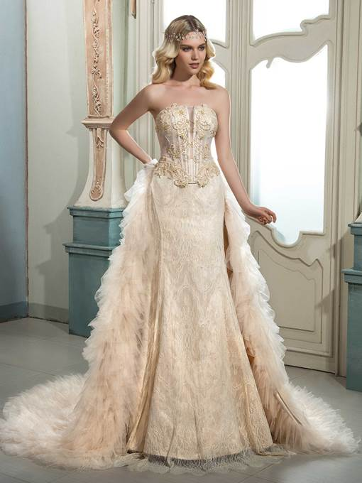 Ericdress Strapless Beaded Lace Wedding Dress with Train