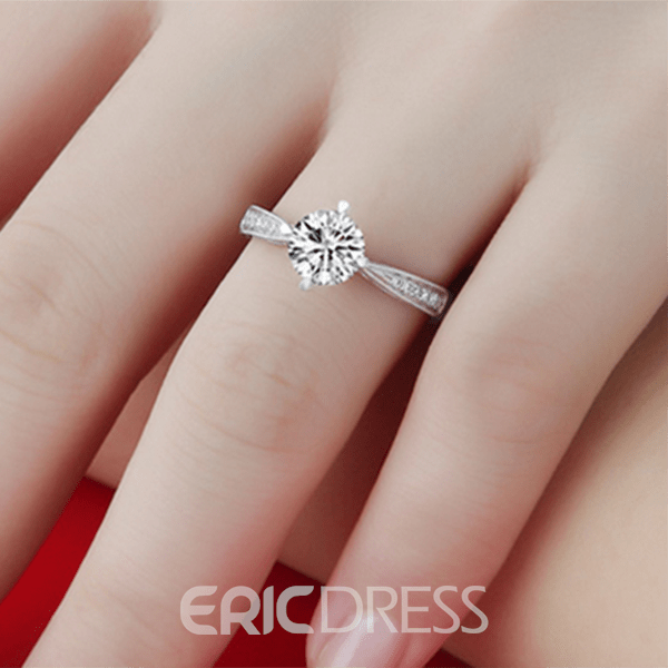 Image of 925 Sterling Silver Plated of 18 K Gold Simulation Diamond Ring