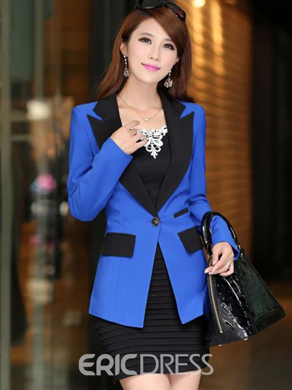Ericdress Slim One-Button Color Block Blazer