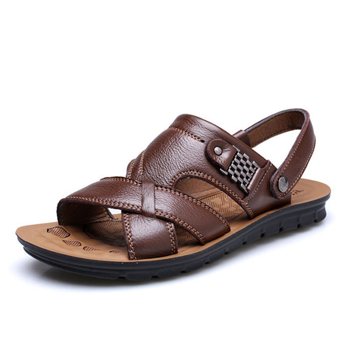 Ericdress Ankle Strap Open Toe Flat Heel Men's Sandals