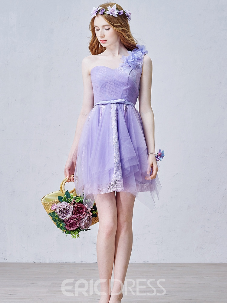 Ericdress A-Line One-Shoulder Lace Pleats Mini Homecoming Dress
