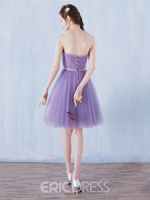Ericdress A-Line Strapless Bowknot Pleats Sashes Homecoming Dress