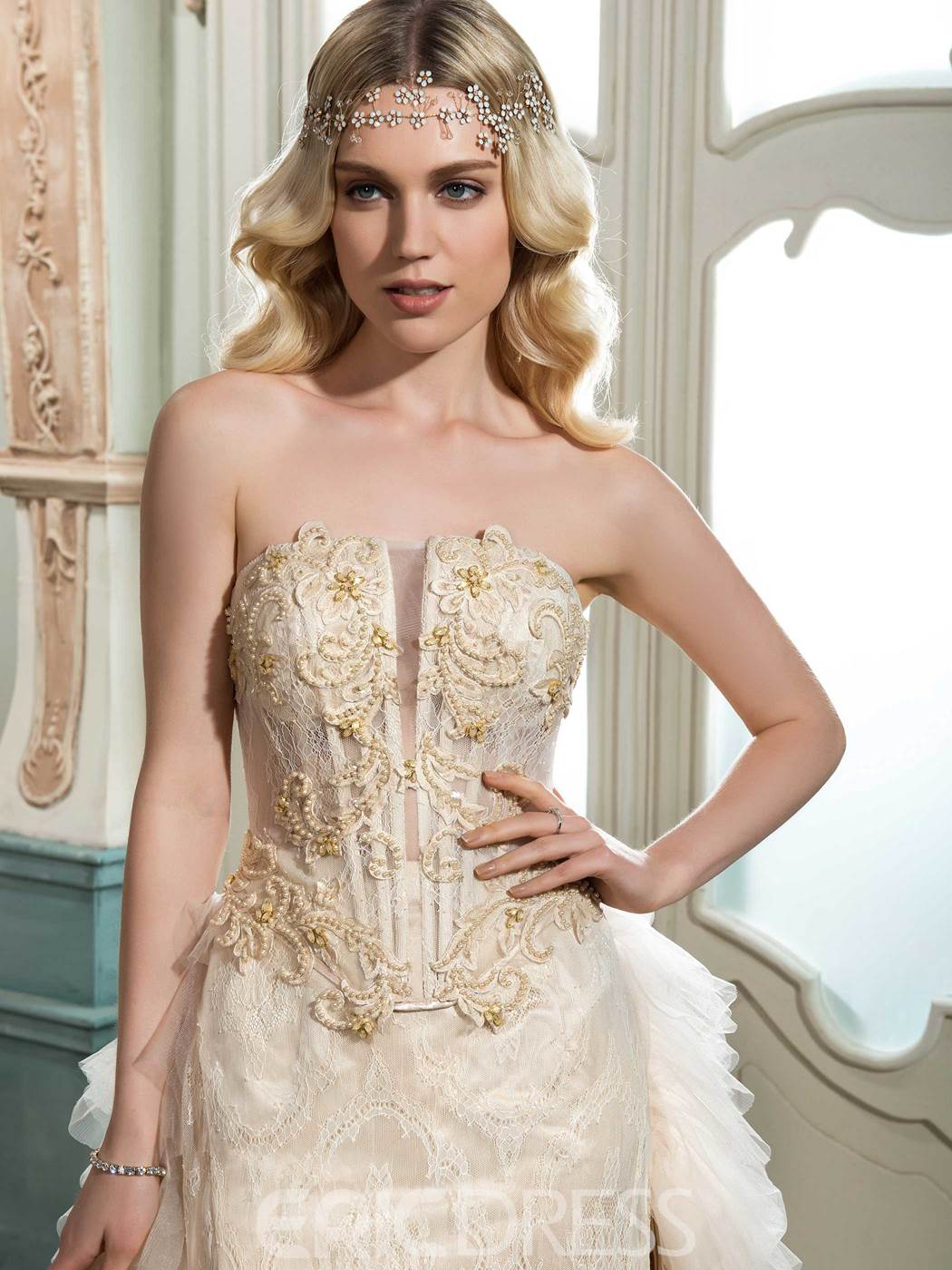 Ericdress High Quality Strapless Beaded Lace Wedding Dress
