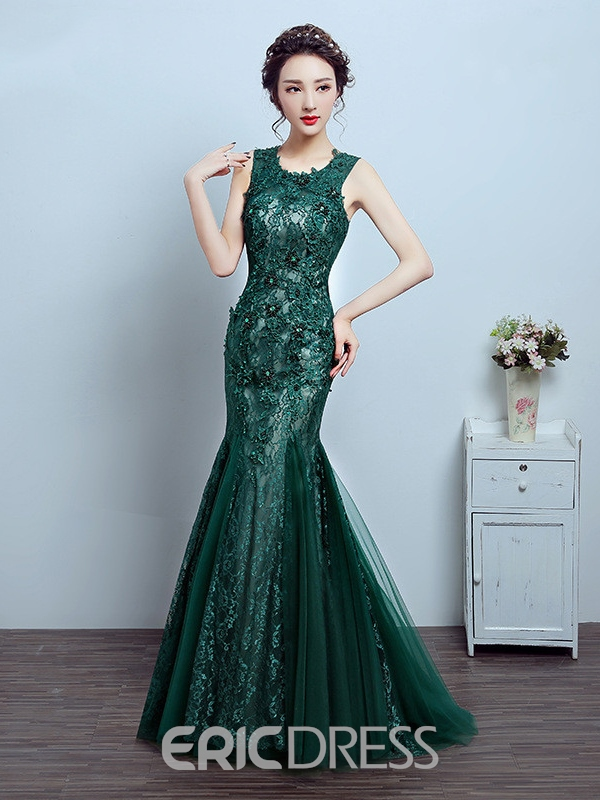 Ericdress Mermaid Scoop Appliques Beading Crystal Lace Evening Dress