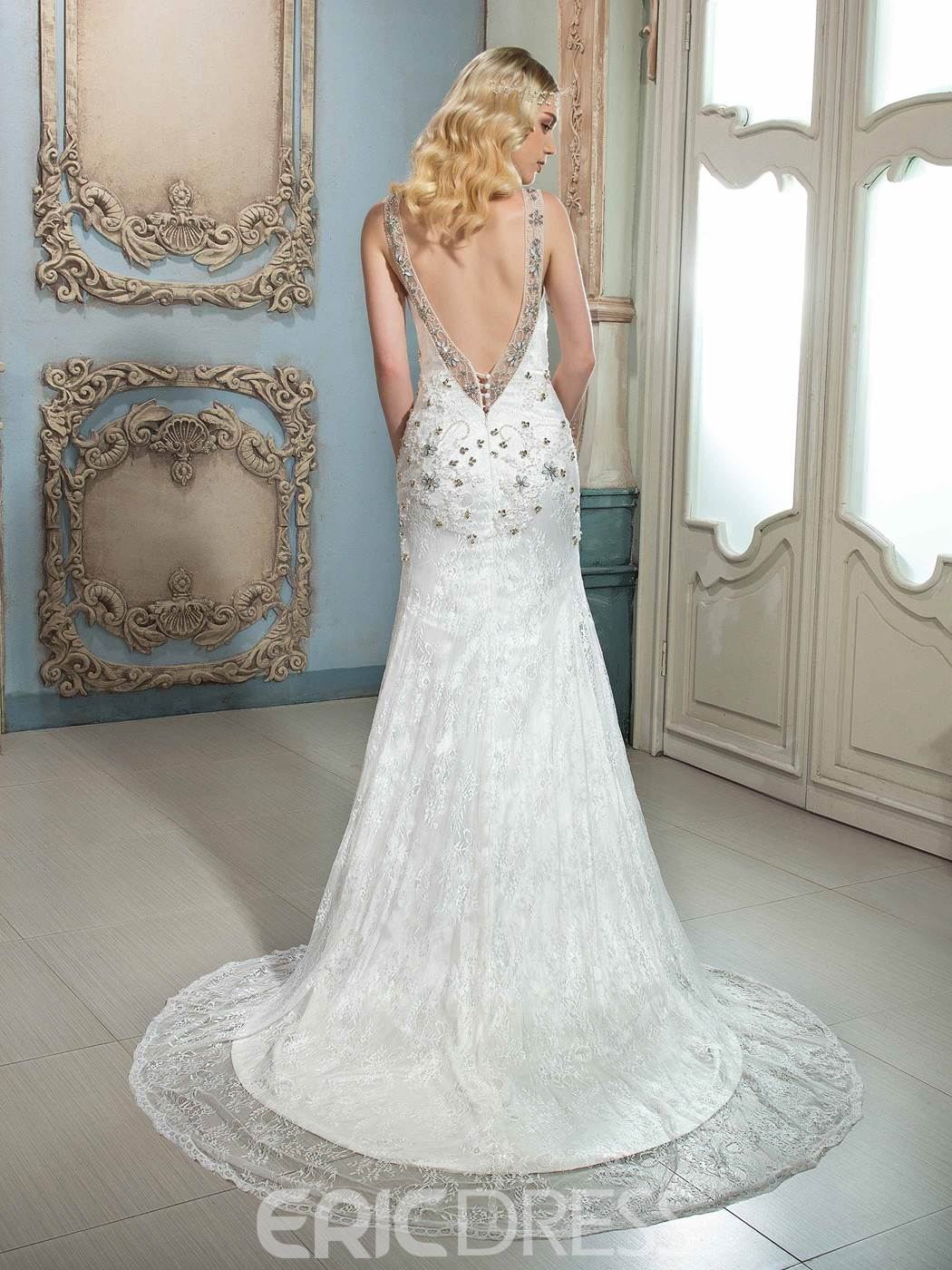 Ericdress Amazing V Neck Beaded Lace Wedding Dress