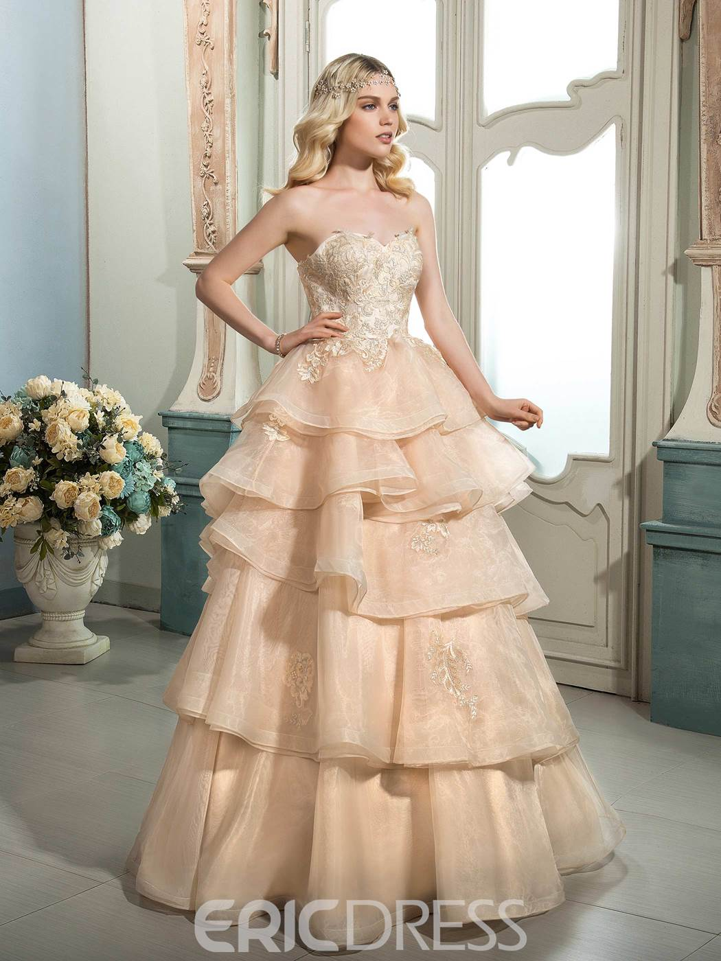 Ericdress Beautiful Appliques Sweetheart Color Wedding Dress
