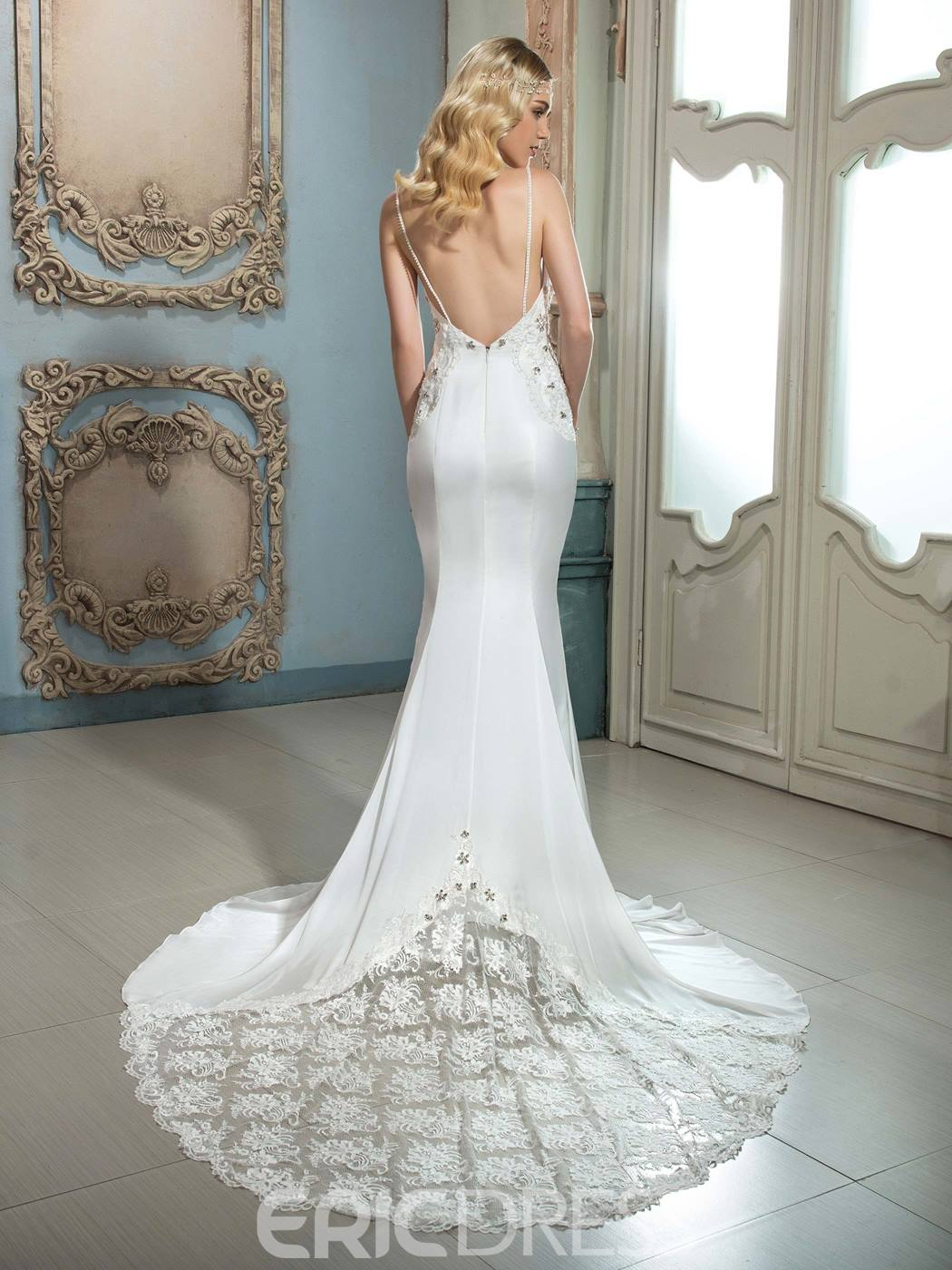 Ericdress Amazing Spaghetti Straps Hollow Mermaid Wedding Dress