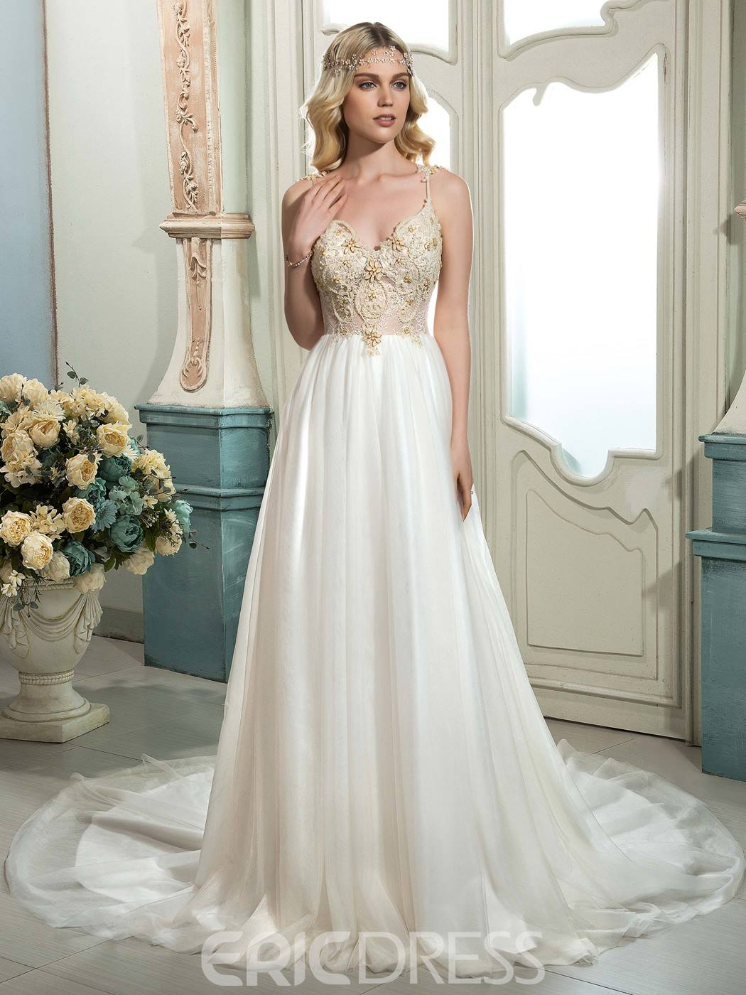 Ericdress beautiful spaghetti straps beaded a line wedding for Cheap but beautiful wedding dresses