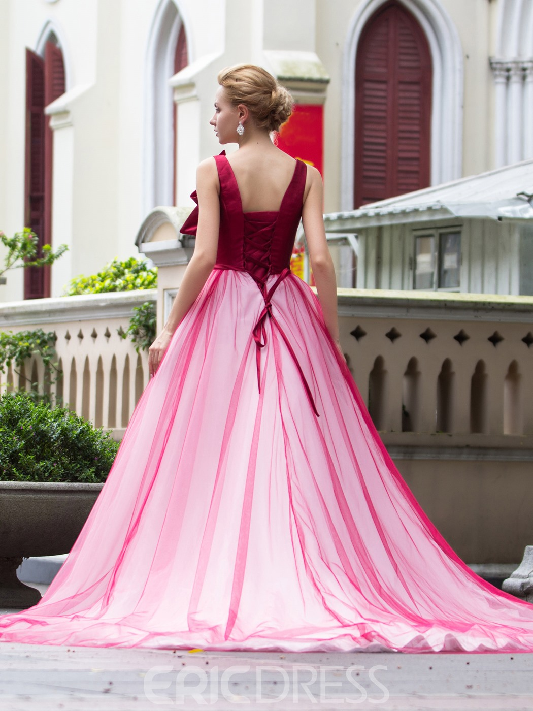 Ericdress V-Neck Bowknot Court Train Quinceanera Dress