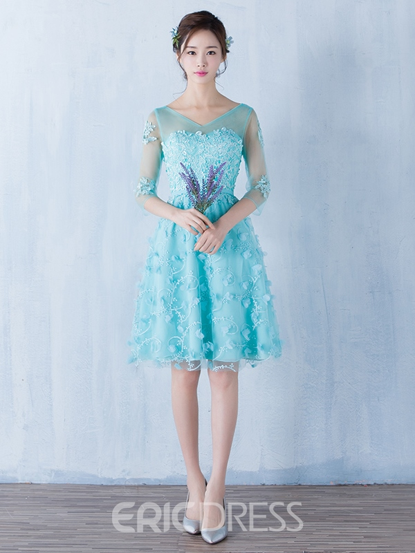 Ericdress A-Line V-Neck Half Sleeves Appliques Bowknot Sashes Knee-Length Homecoming Dress