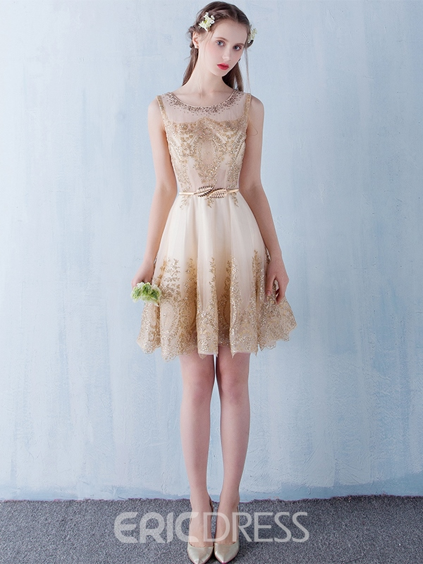 Ericdress A-Line Scoop Appliques Sashes Mini Homecoming Dress