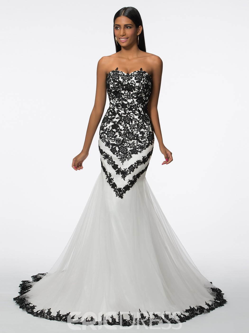 Ericdress Sweetheart Appliques Tulle Mermaid Evening Dress