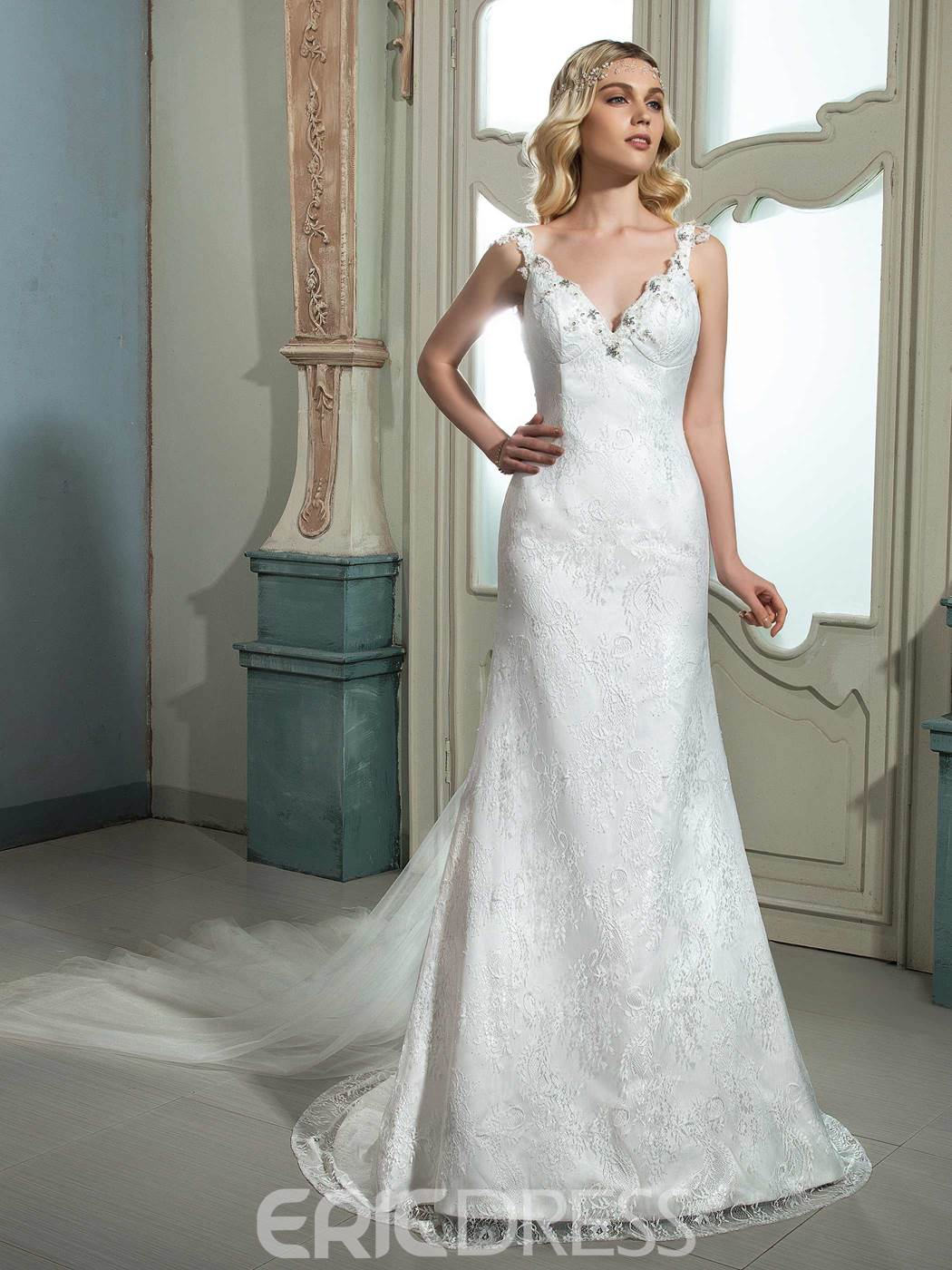Ericdress Charming Beaded V Neck Backless Lace Wedding Dress ...