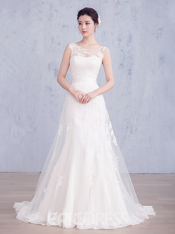 Ericdress Beautiful Illusion Neckline Sheath Wedding Dress 12162564