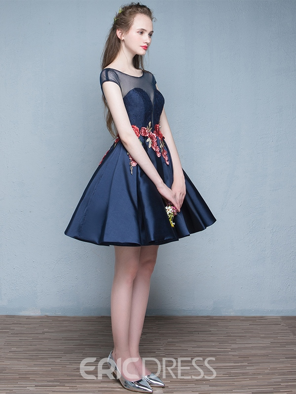 Ericdress A-Line Scoop Cap Sleeves Embroidery Short Homecoming Dress